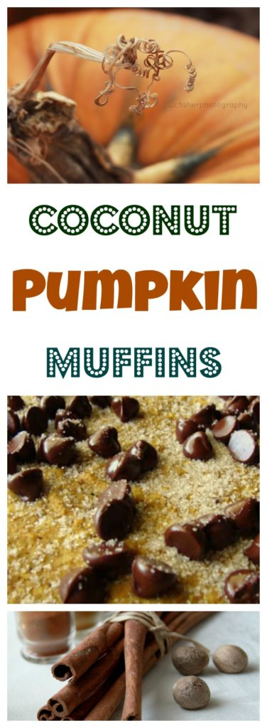 Pinnable image of coconut pumpkin muffins on www.sugarbananas.com