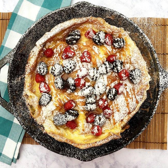 Puffy German Pancake on the table at www.SugarBananas.com
