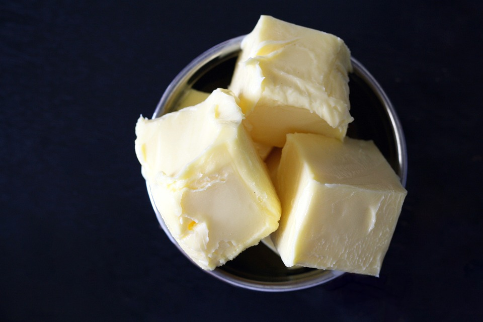hunks of butter in a dish