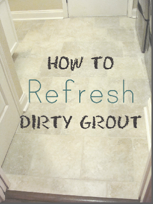pinnacle image of how to refresh dirty grout laundry room tile with washer and dryer