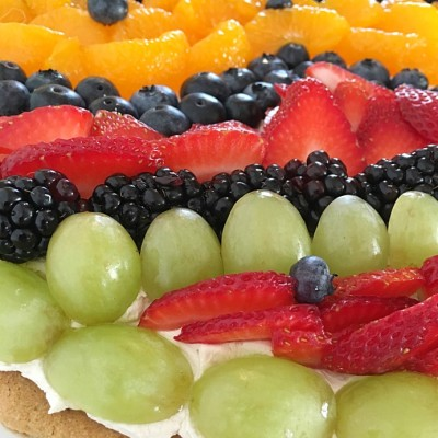 fruit topped easter cookie dessert pizza