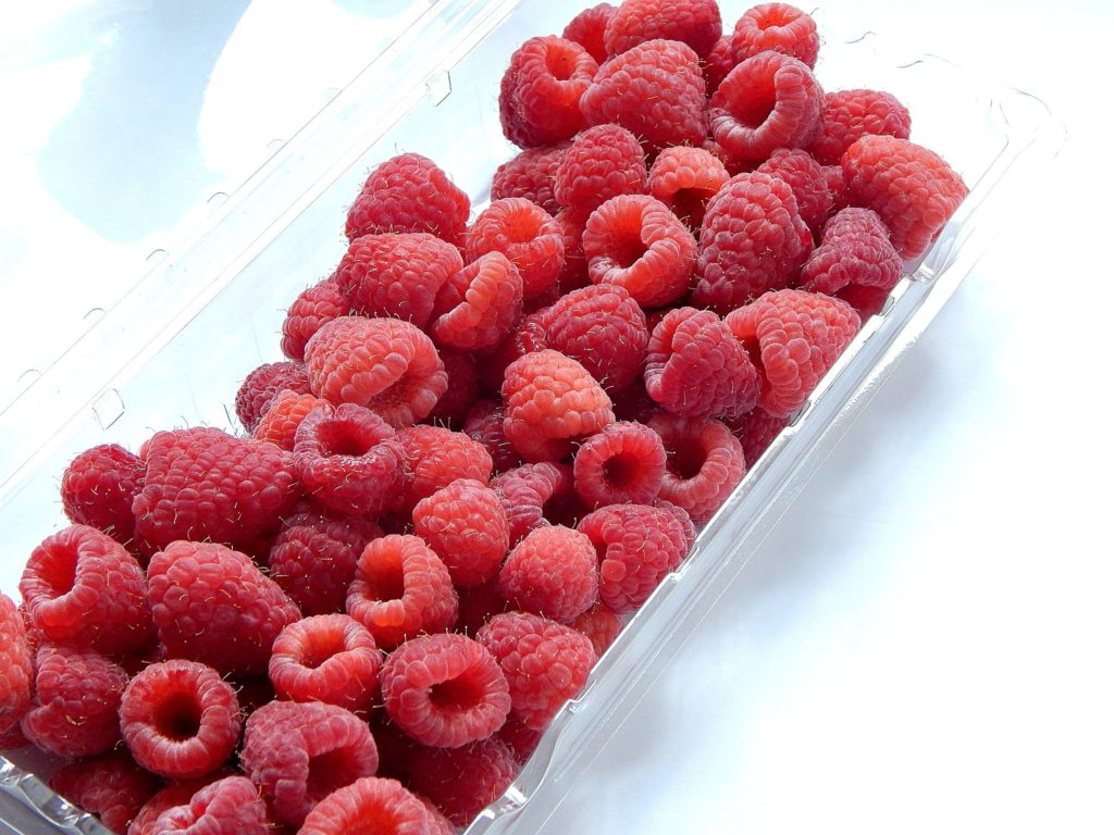 a fresh tray of rinsed and drained raspberries to be added to the batter for raspberry breakfast muffins