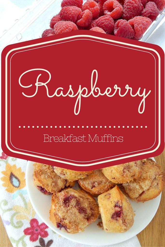 pinnable image of raspberry breakfast muffins