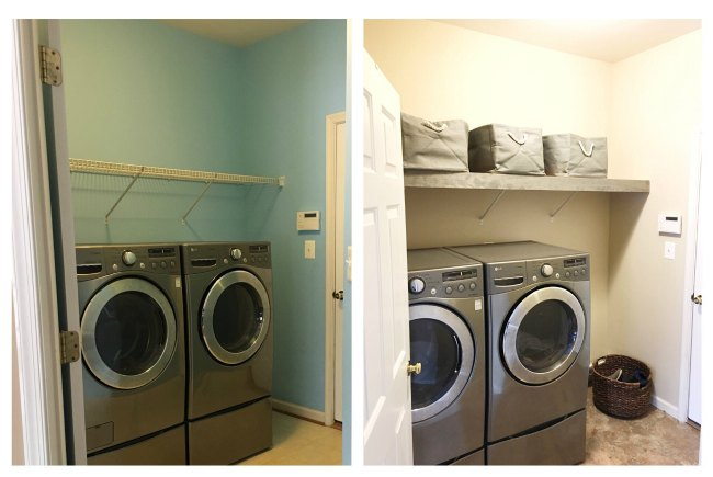 before and after hundred dollar room makeover laundry on www.sugarbananas.com