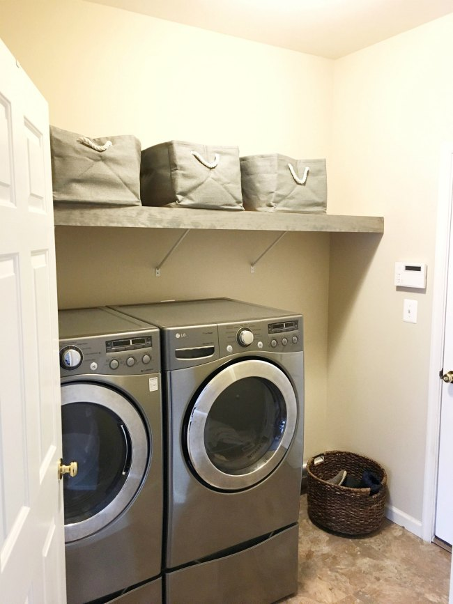 finished laundry room after hundred dollar makeover challenge on www.sugarbananas.com