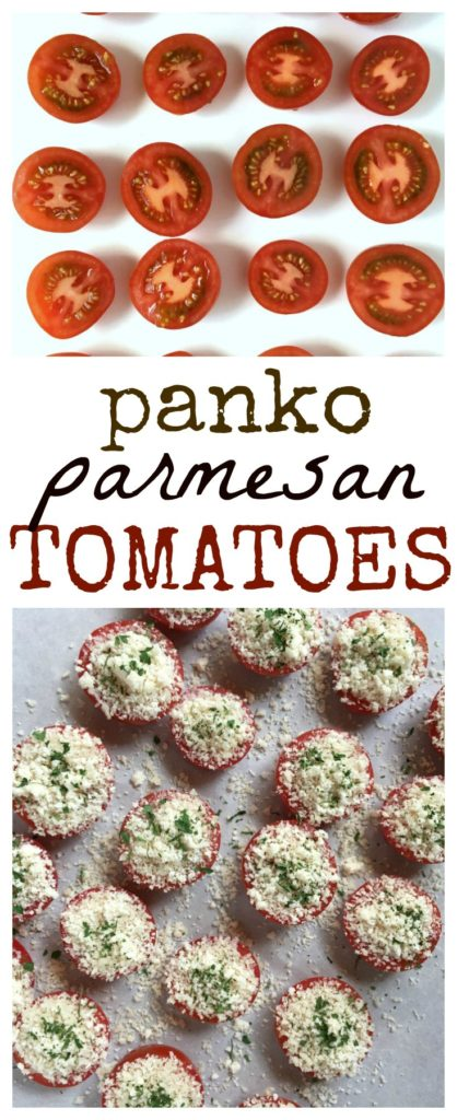 pinnable image of panko parmesan tomatoes