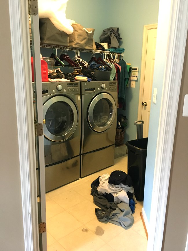 laundry room makeover before photo mess lg washer dryer entryway junk dump