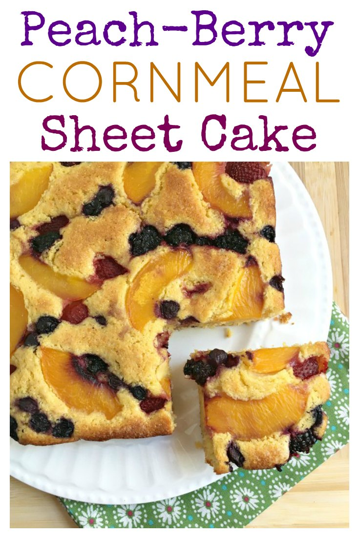 Peach Berry Cornmeal Sheet Cake on www.sugarbananas.com