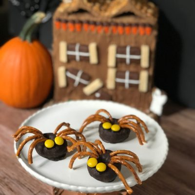 Haunted House Doughnut Spiders Easy Halloween Party Food from Sugar Bananas