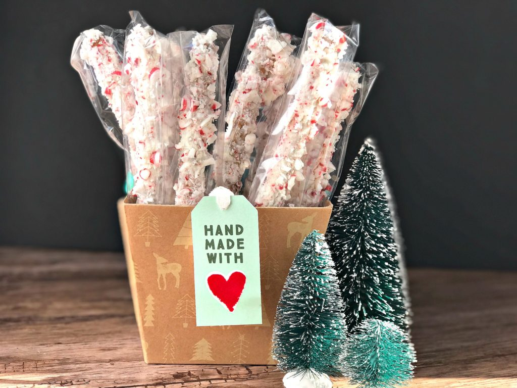 Holiday Food Gift Ideas from www.sugarbananas.com peppermint pretzel rods