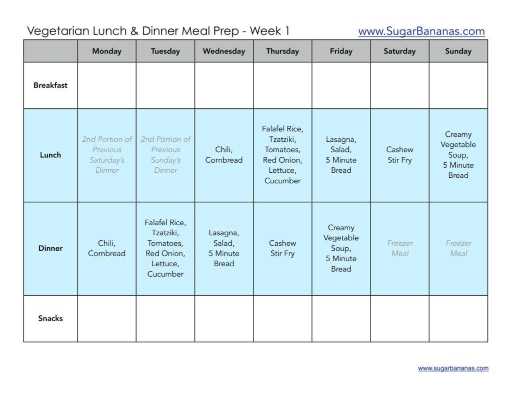 Week 1 Vegetarian Meal Prep Menu