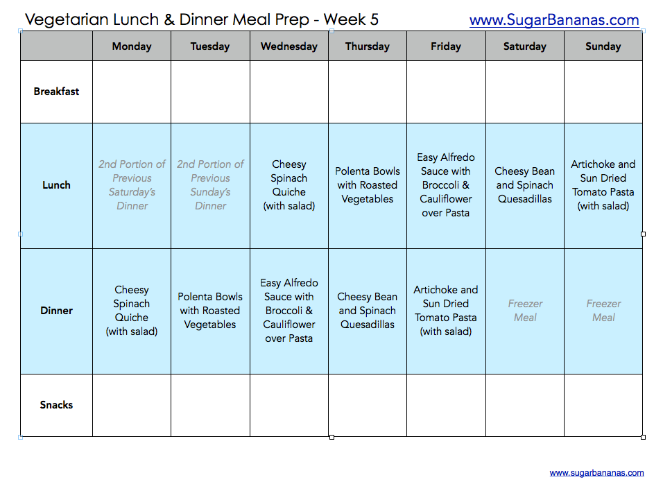 vegetarian meal prep weekly menu from sugar bananas