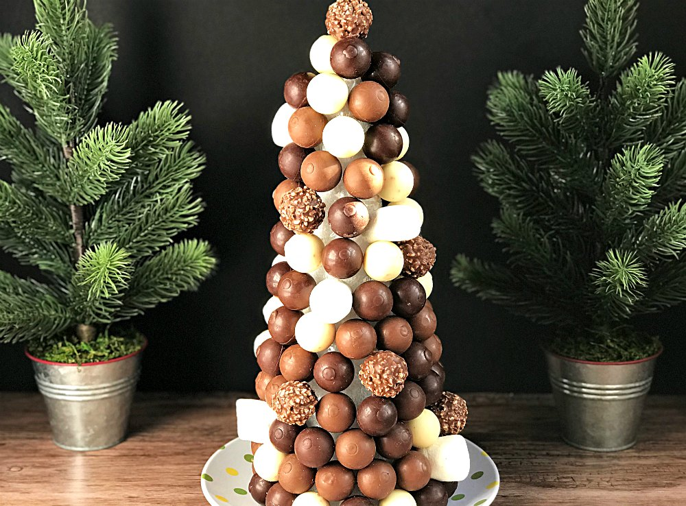 White Dark and milk chocolate truffle christmas tree from sugar bananas with marshmallows Christmas Party Buffet Food Ideas